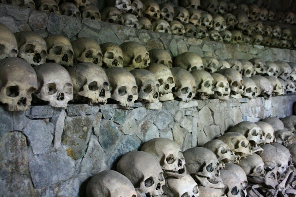 skulls and bones of opdas burial cave - kabayan, benguet
